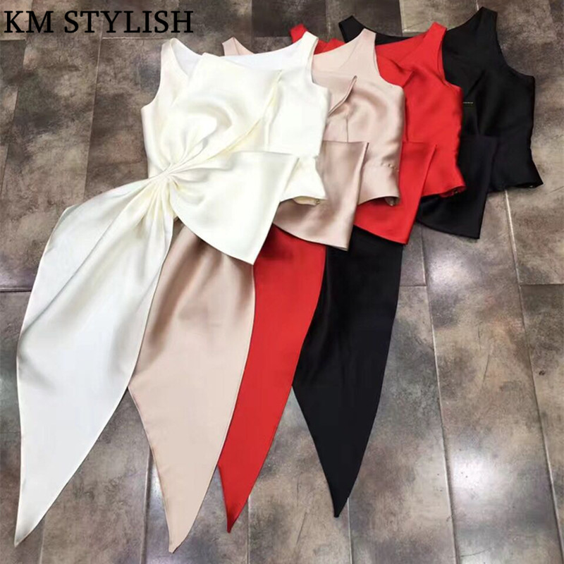 [New Sale] 2019 Spring and Summer Women Blouse New High-end Pure Color Satin Folds Irregular Shirt Zipper Top Plus Bow 3 colors