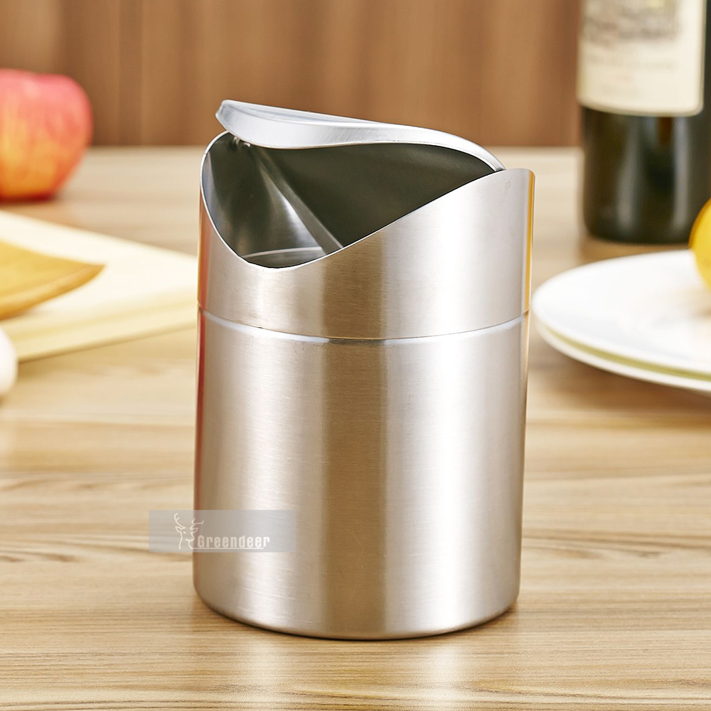 Brushed Stainless Steel Mini Garbage Can Table Desk Trash Rubbish Bin  Storage Bucket Countertop Trash Can U0026 Swing Lid Household In Waste Bins  From Home ...