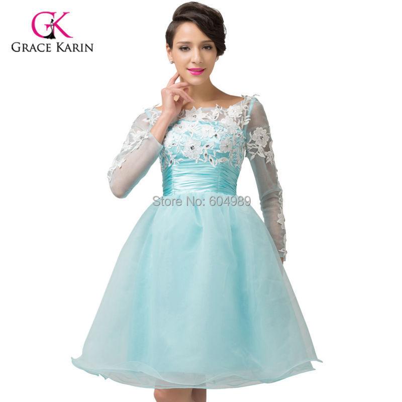 Long-Sleeved Short Formal Prom Dresses
