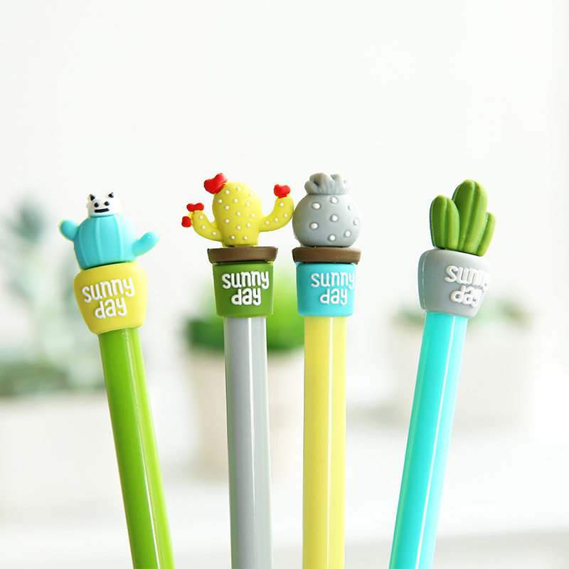 6 pcs Sunny day Cactus potting gel pen Succulent plants black ink pens 0.5mm nib syring refill Stationery school supplies A6763