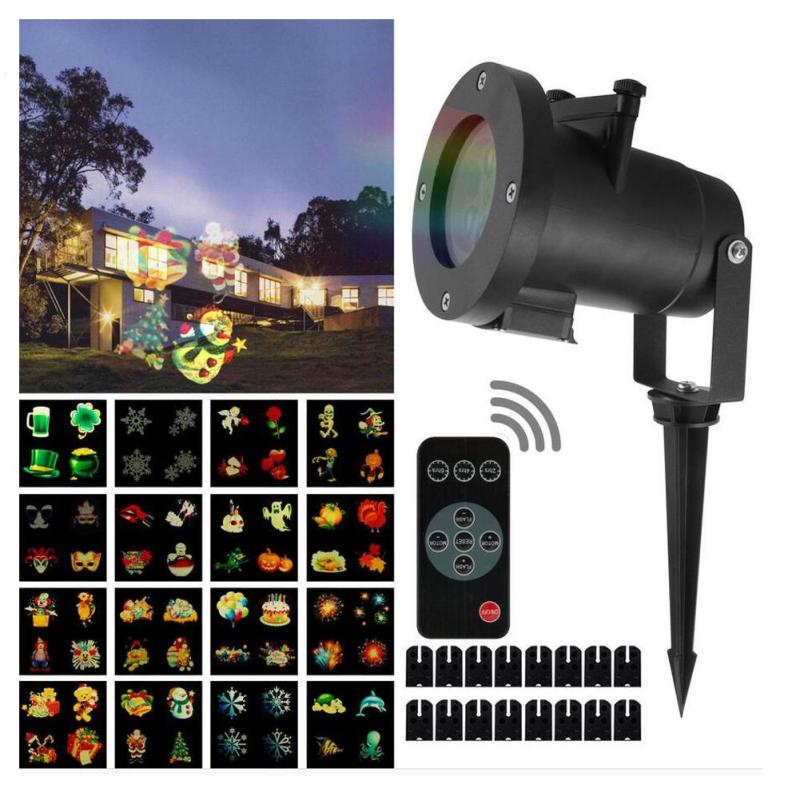led christmas lights 16 patterns lights snowflake logo projection lamp lawn laser film lamp outdoor waterproof lights ip44 z40