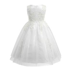 Image 2 - Biały/kość słoniowa bez rękawów długość herbaty pierwsza komunia kwiatowe sukienki dla dziewczynek dla dzieci kwiecista koronka korowód przyjęcie weselne suknia wieczorowa