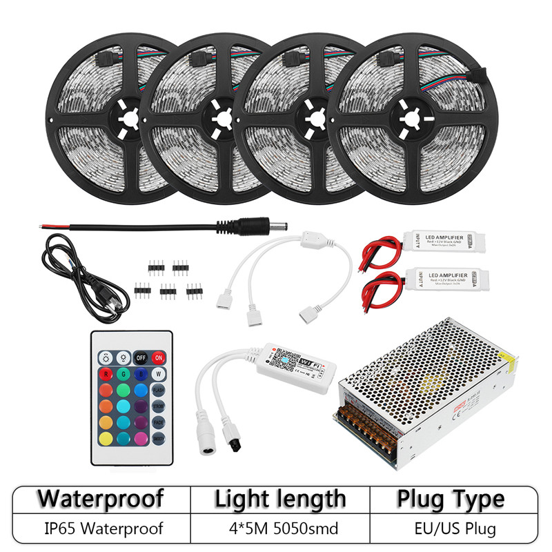 Waterproof IP65 RGB 5050 300LED Flexible Strip Lights with Remote Control Wifi Wireless Smart Phone Controlled Light Strip Kit