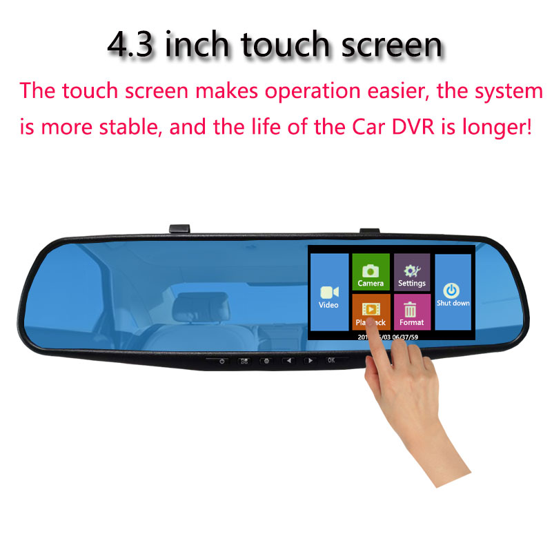 Image 2 - Jiluxing Car DVR 1080P touch screen Dual Lens Car Camera Mirror Video Recorder Rearview Mirror DVR Dash cam Auto Camcorder-in DVR/Dash Camera from Automobiles & Motorcycles
