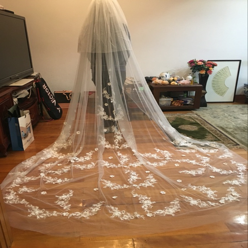 Trailing-Bridal-Veil-Fancy-Appliques-Wedding-Veil-Grace-Wedding-Accessories (1)