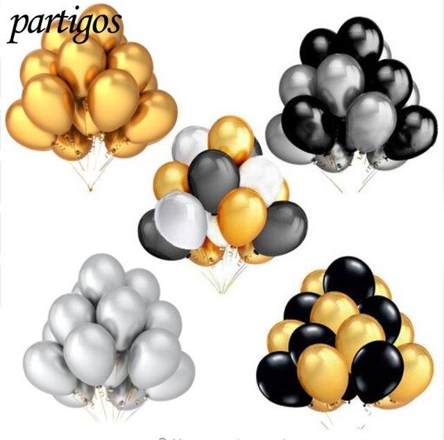 30 pçs/lote 10 polegada Pérola Ouro Prata Preto Aniversário Festa de Casamento Decoração Balões De Látex Hélio Ar Globos Crianças Presentes Suprimentos