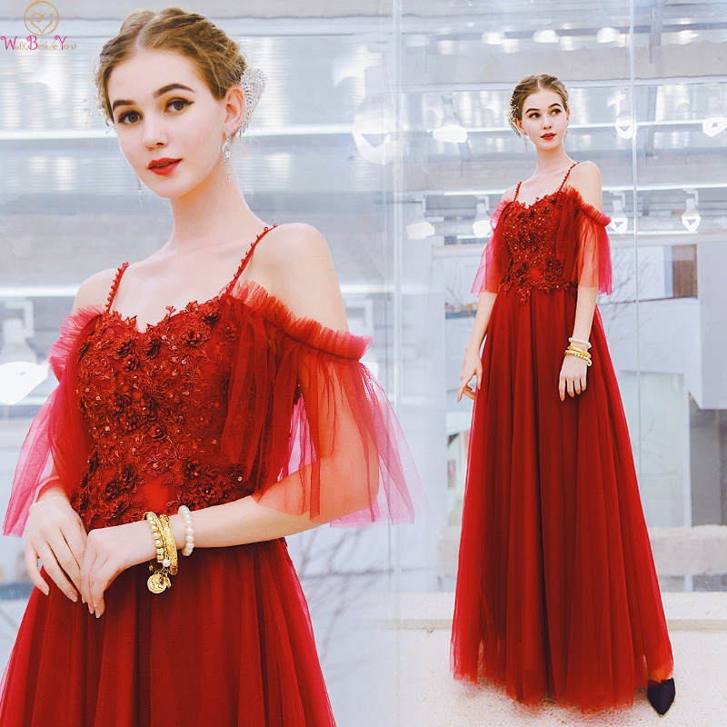 Red   Evening     Dresses   2019 Elegant Off Shoulder Floor Length Long Spaghetti Strap Sequined Formal Party Prom Gowns Walk Beside You