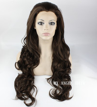 26inch Mix #6/8 Brown Wavy Stylish Synthetic Lace Front Wig Heat Resistant Hair Kanekalon Women Party Wigs