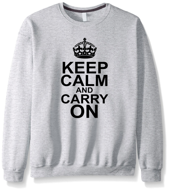 2017 new autumn winter keep calm and carry on funny hoodies fitness fashion cool casual men sweatshirt hip hop streetwear male