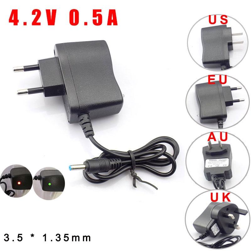 AC 110V 220v к DC 4,2 V 0.5A 500ma адаптер питания штепсельная Вилка для 3,7 V 18650 перезаряжаемая батарея факел US EU UK AU 3,5*1,35mm