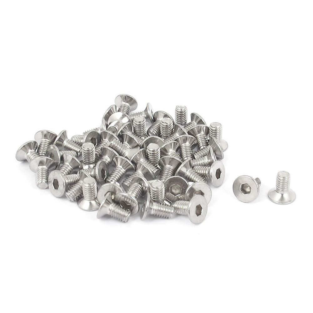 M3 x 6mm Hex Socket Countersunk Flat Head Screw Bolts 50pcs 20pcs m3 6 m3 x 6mm aluminum anodized hex socket button head screw