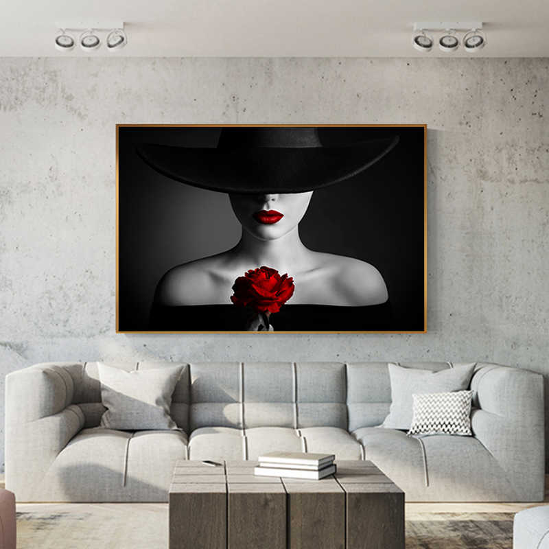 Sexy Red Lips Bleeding Rose Canvas Painting Black Posters Prints Beauty Bare Shoulder Woman Wall Art Living Room Tableau Salon