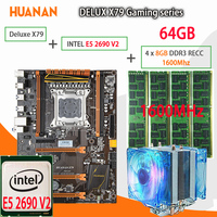 HUANAN Golden Deluxe X79 Gaming Motherboard LGA 2011 ATX Combos Cooler E5 2690 V2 SR1A5 4