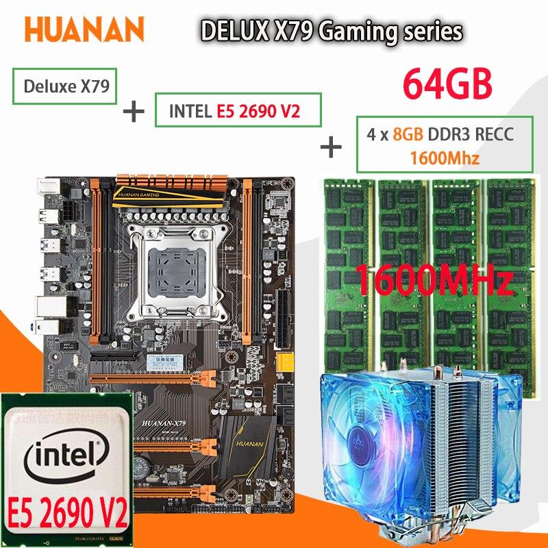 HUANAN golden Deluxe X79 gaming motherboard LGA 2011 ATX combos Cooler E5 2690 V2 SR1A5 4 x 8G 1600MHz 64gb DDR3 RECC Memory