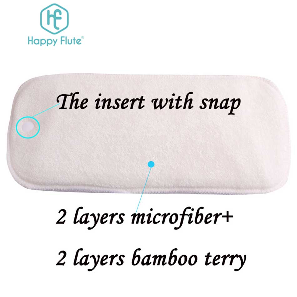 HappyFlute 10 шт. 2 слоя бамбука и 2 слоя микрофибры вкладыш для новорожденных вставка для детской ткани подгузник натуральный бамбук моющийся