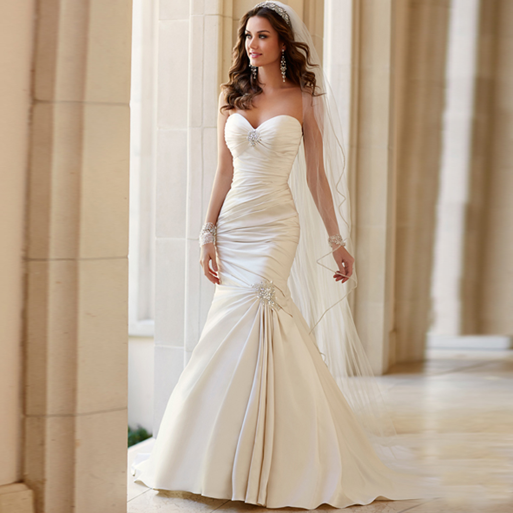 Buy 2015 sexy wrap sweetheart ivory satin for Satin sweetheart mermaid wedding dress