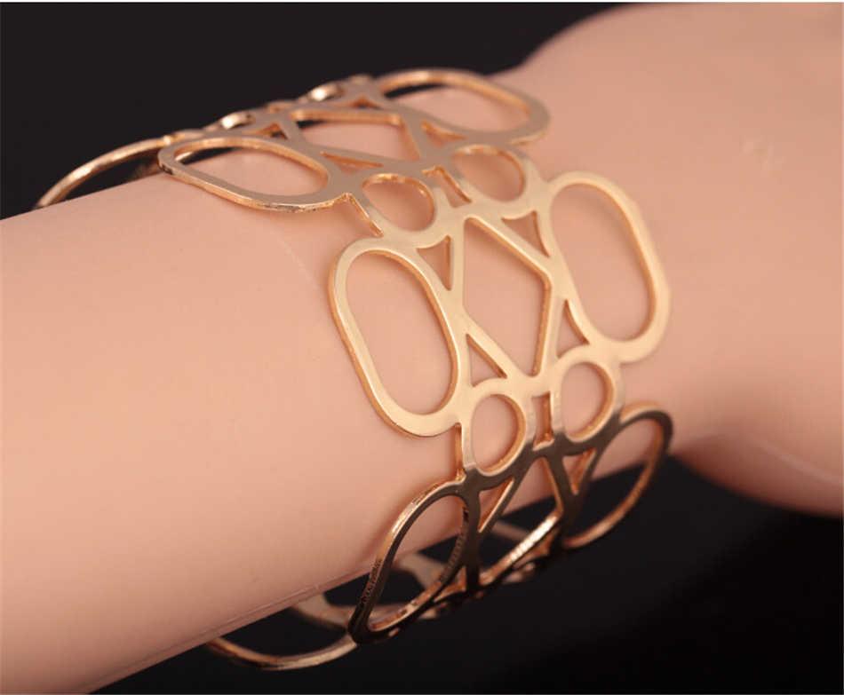 Kiểu dáng thời trang Thanh 1 Châu Âu Không Đều Đâm Xuyên Đồ Họa Kim Loại Vòng Tay Charm Da Thật Nam Nữ lắc tay vòng tay #0411
