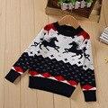 2016 Bebé Del Invierno niñas suéteres y pullovers suéter de la Navidad para las niñas de Dibujos Animados de Algodón Animal del Caballo de punto suéter tops