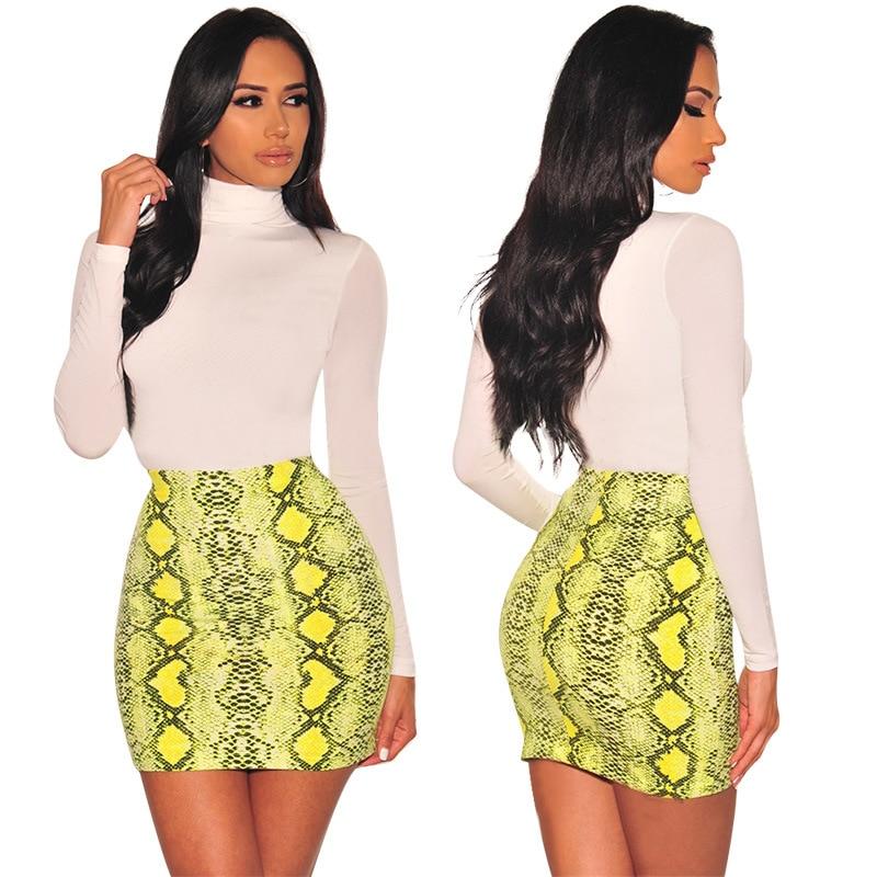 Image 4 - Sexy Women Snake Print Skirt Summer High Waist Mini Skirt Short Pencil Bodycon Femme Slim Package Hip Plus Size 2019-in Skirts from Women's Clothing