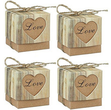 50 packs candy box love country kraft paper gift collection jute rope twine heart bag wedding birthday decoration