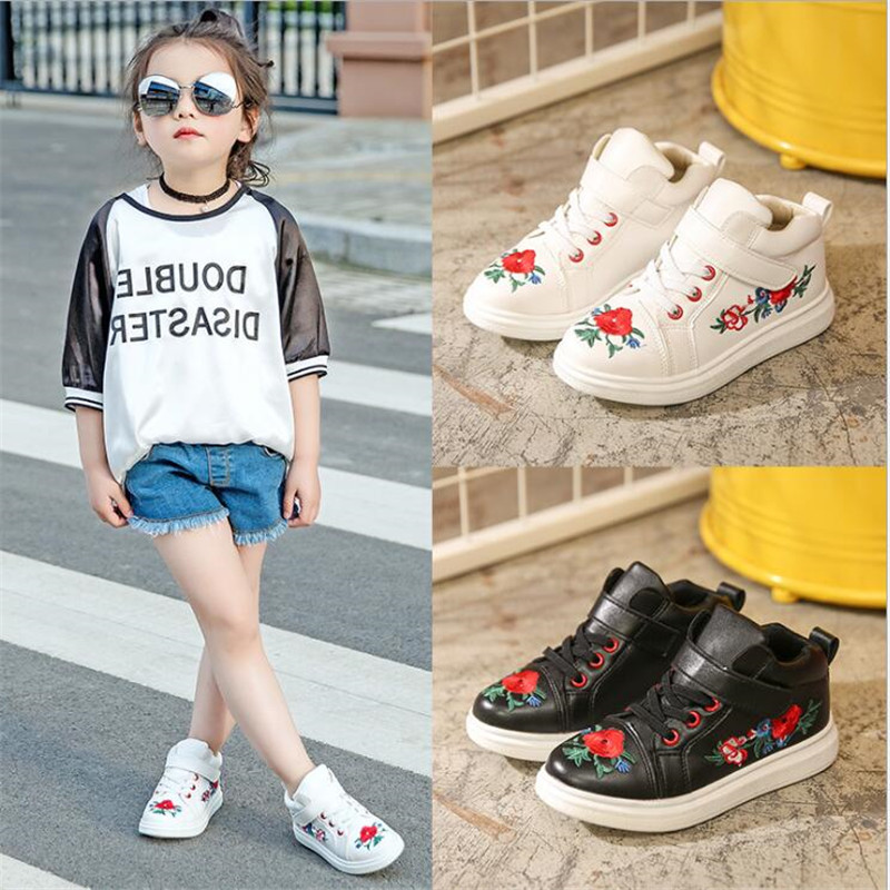 Girls Red Flower Embroidery Shoes Kids Children Casual Shoes Boy Fashion Brand Leather Sneakers Sport School Zapatos Black White