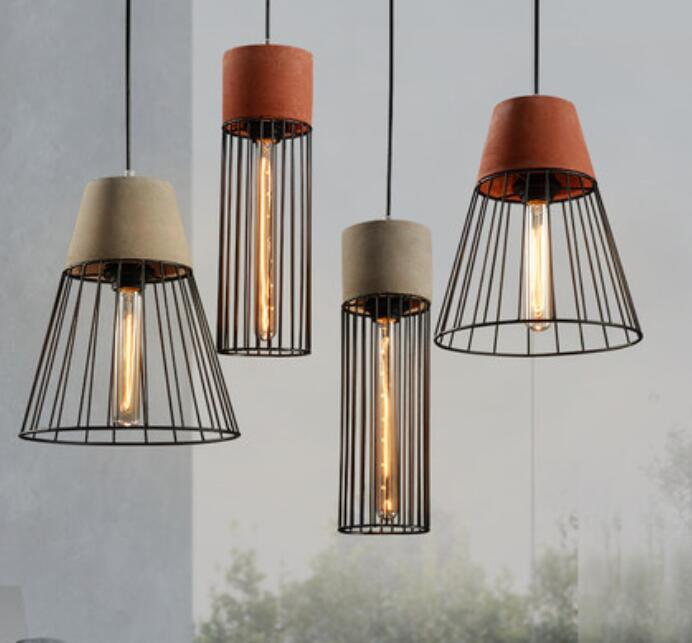retro cement design art cement pendant light vintage lampe. Black Bedroom Furniture Sets. Home Design Ideas