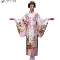 Hot Sale Fashion Pink Japanese Style Women Kimono Yukata Haori With Obi Evening Party Dress Asian Clothing Flower HW036