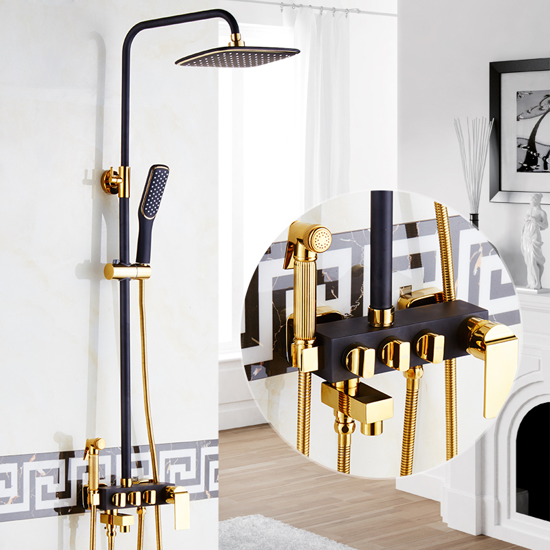 Golden and Balck Rainfall Bath Shower Faucet Set with Handheld Shower In Wall Bathroom Shower Mixer Tap Sprayer Gun Tap