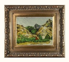 Mountains at St. Remy with Dark Cottage by Vincent Van Gogh Handpainted
