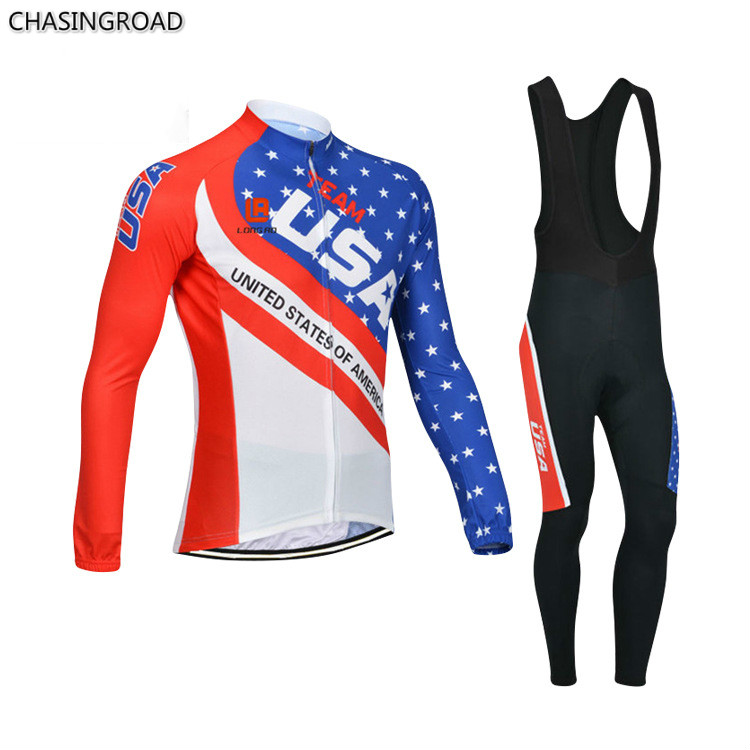 ФОТО USA Team Long Sleeve Cycling Jerseys Fall 2017 New Breathable Perspiration Quick-drying Outdoor Cycling Suits Wholesale