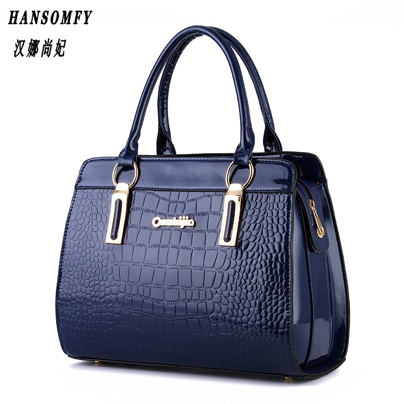 100% Genuine leather Women handbag 2017 New Bright lacquered stone fashion style European style atmosphere shoulder