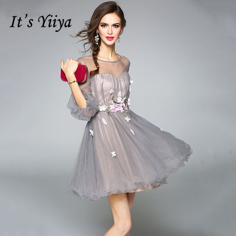 It's YiiYa Tulle   Cocktail     Dresses   2018 Fashion Designer Quality Sexy Illusion Appliques Flower Zipper Party Ball Gowns L496