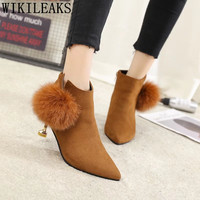 Bowknot Suede Boots Zapatillas Mujer Casual Shoes Woman Ankle Boots For Women High Heel Boots Botas