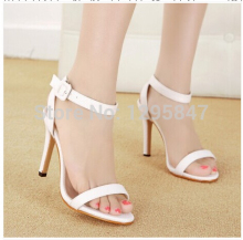 Fashion High Heels A Word Cingulate White Black Open-Toed Sandals Women's High-Heeled Sandals Free Shipping