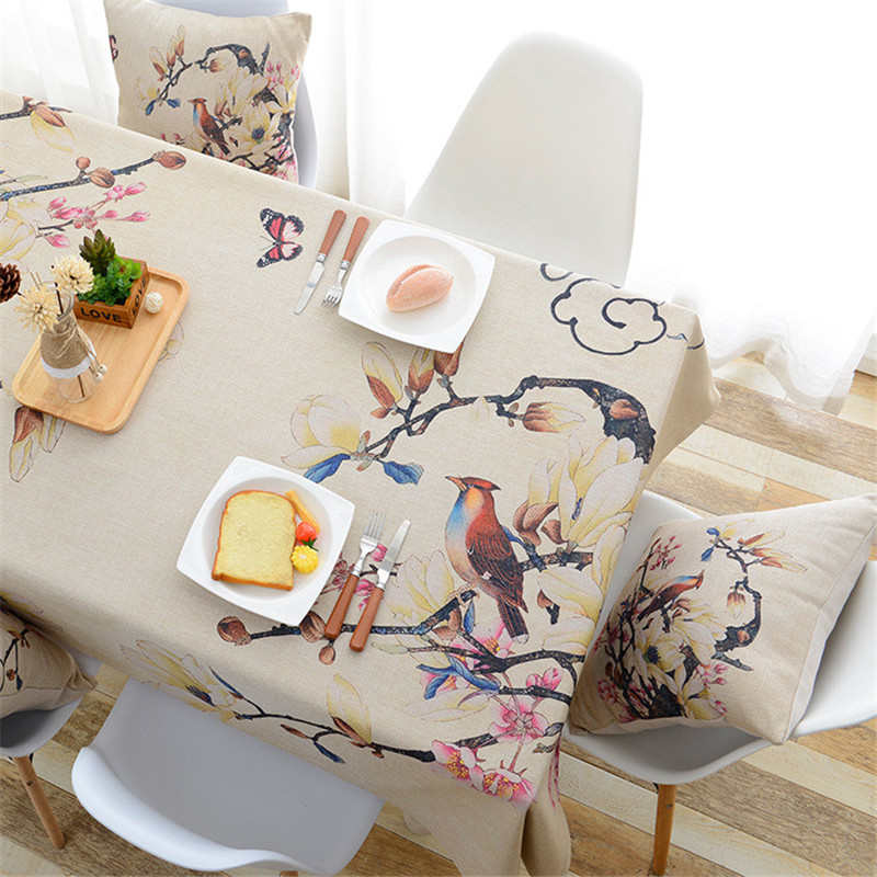Pastoral cotton and linen tablecloth simple flowers birds waterproof rectangular printing coffee