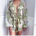 Lace Playsuit 2017 New Arrival Girls jumpsuit Black Beige Long Sleeve Sexy V Neck Bodycon Women Party Bandage Jumpsuit HL kk524