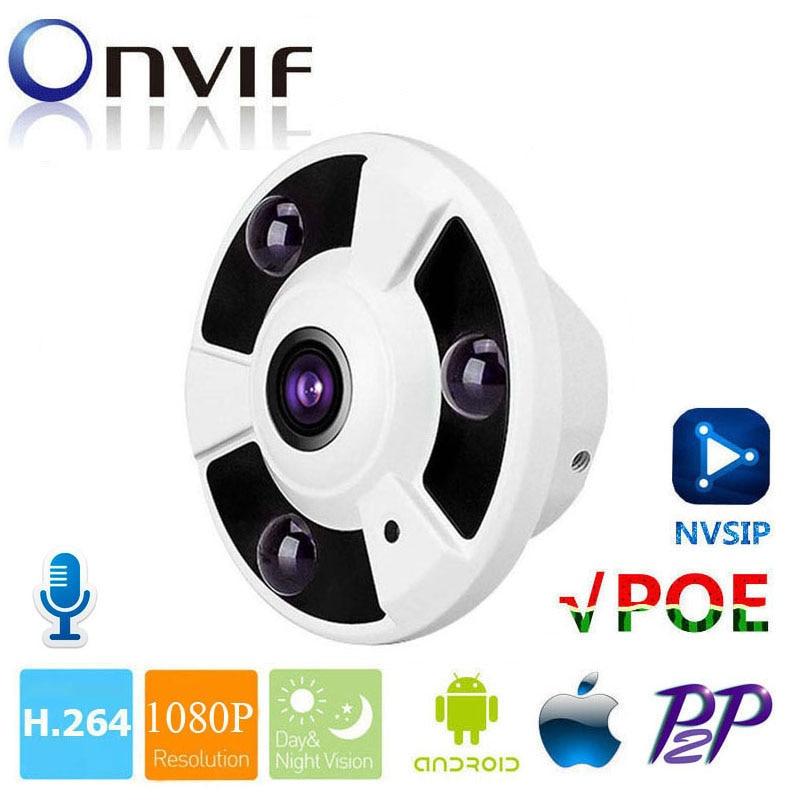 HD 2MP 1080P Camera Indoor CCTV Security Fisheye Wide Angle POE IP Camera With Audio Pick Up P2P Cloud Onvif Mobile Phone View poe fisheye wide angle 1080p ip camera p2p network security onvif