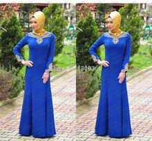 Elegant Beaded Royal Blue Long Sleeve Prom Dresses 2016 Turkish Women Clothing Hijab Long Arabic Evening Gowns Vestido Longo