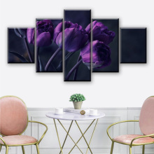 Canvas Wall Art Posters Home Decorative Living Room Modular Framework 5 Pieces Purple Tulip Flower Pictures HD Prints Paintings