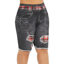 Rose gal Denim Knee Length Jeans Women Plus Size Short Elastic Skinny Female Plaid Panel Print Trouser High Waist Capris Pants