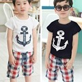 Summer 2015 fashion Children's clothing set baby set for summer plaid pants +anchor t-shirts child set 100% cotton suit clothes