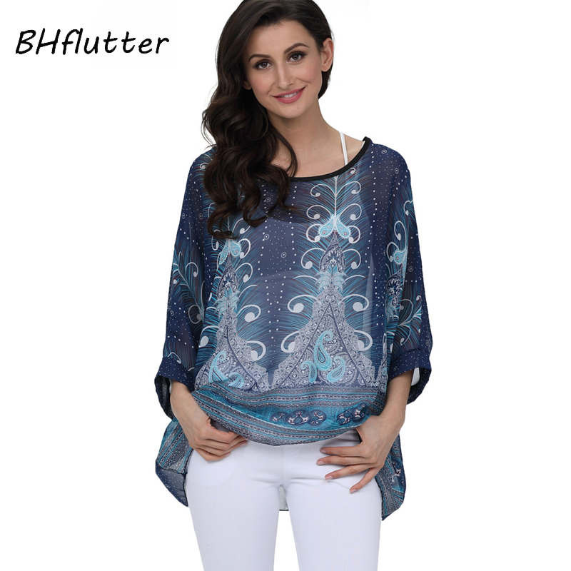 BHflutter 2018 Women Blouse Shirt Plus Size 4XL 5XL 6XL Batwing Sleeve Chiffon Tops  Floral Print Casual Summer Blouses Blusas
