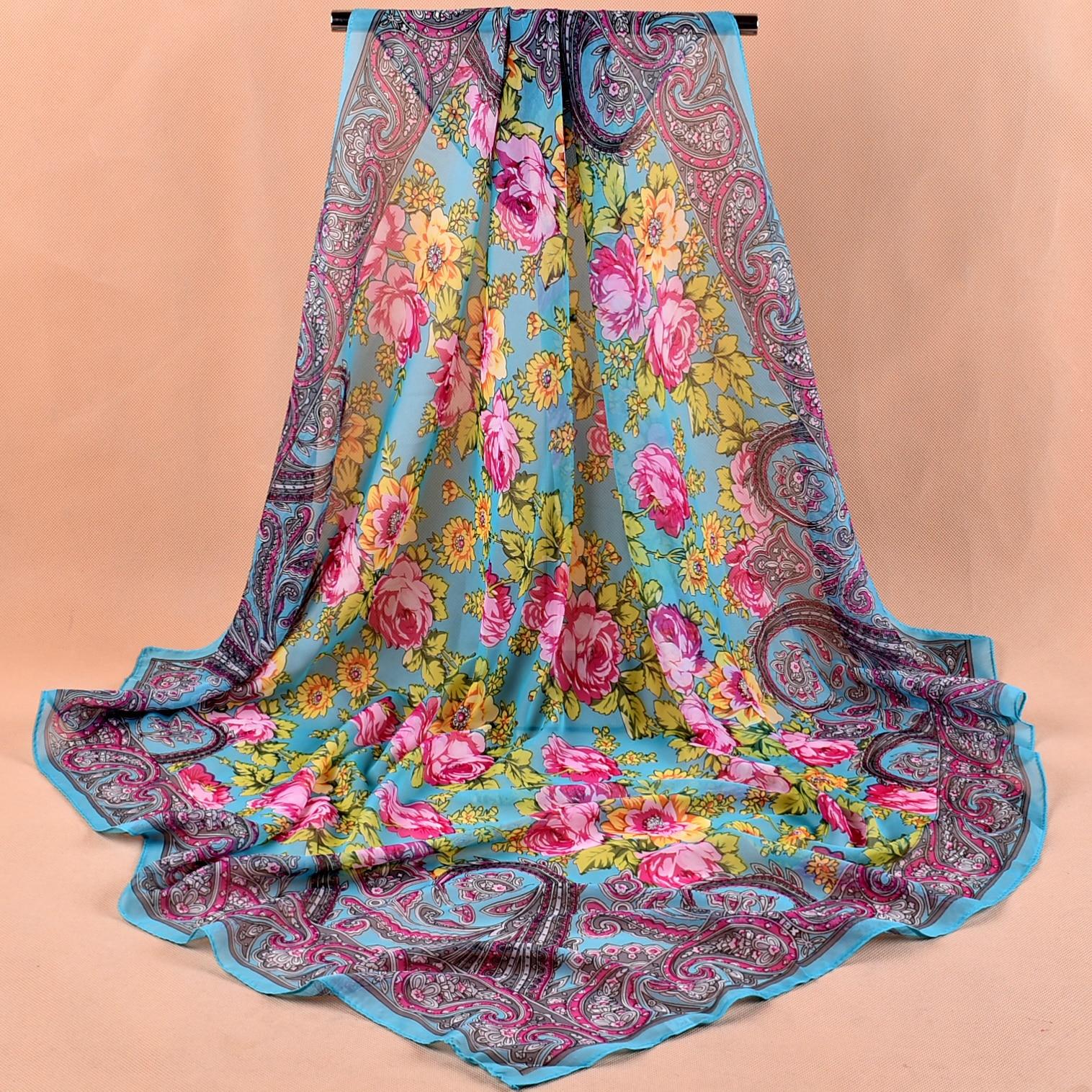 Fashion Shawl Scarves For Women Floral Print Silk Satin Hijab Scarf Female Wraps 90*90cm Square Shawls Bandana Scarfs For Ladies