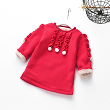 2017 Winter Children Fleece Sweaters Kids Girls Red Warm Pullover Long Section Casual Thicken Bead Laciness Plus Velvet Clothes