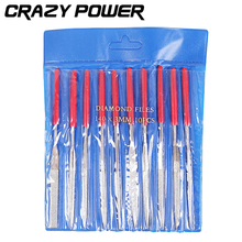 CRAZY POWER 10pcs/Set 140mm*3mm Needle Files Jeweler Diamond Carving Craft Hand Tool For Wood Metal Glass Stone Polishing AT2074