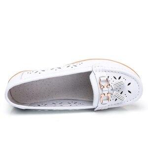 Image 3 - Dobeyping mocassins dété pour femmes, chaussures ajourées en vrai cuir, chaussures plates, mocassins respirants, tailles 35 à 41, collection 2018