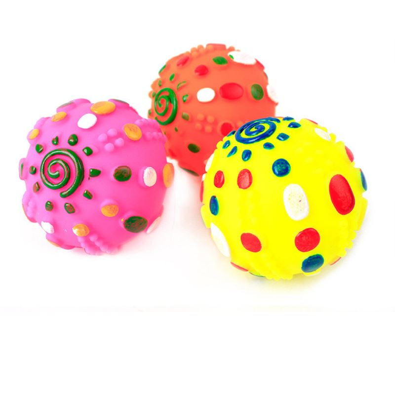 1pc Random Color Hot Pet Toys Missing Food Balls Sound Voice Dog Toys Ball Cartoon Sun Ball Cats Toy Pet Product Supplies P0.5
