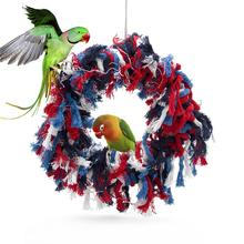Colorful Cotton Rope Parrots Hanging Swing Round Chicken-Toy