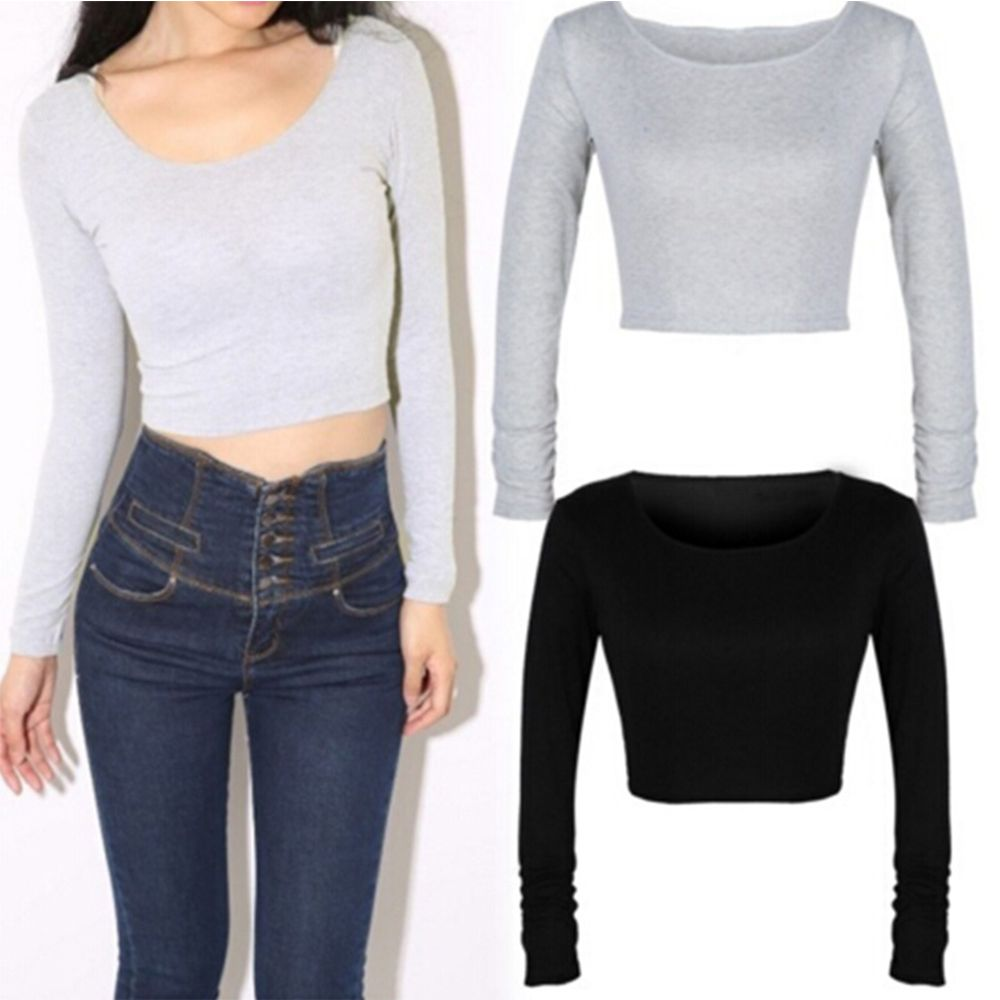 Hot Selling New Fashion women long sleeve cropped top t-<font><b>shirt</b></font> <font><b>belly</b></font> tops Button Casual Dew <font><b>Sexy</b></font> Fall Showing Cotton image