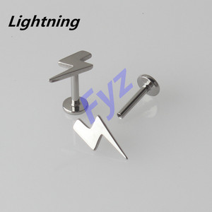Image 5 - Different Shapes Tops G23 Titanium Internal Thread Labret Lip Piercing 16G Ear Cartilage Helix Tragus Stud Body Jewelry